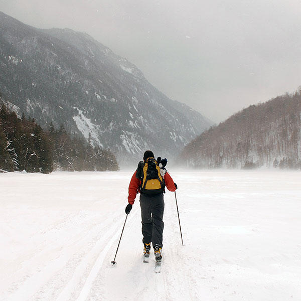 Nordic skiing in a valley