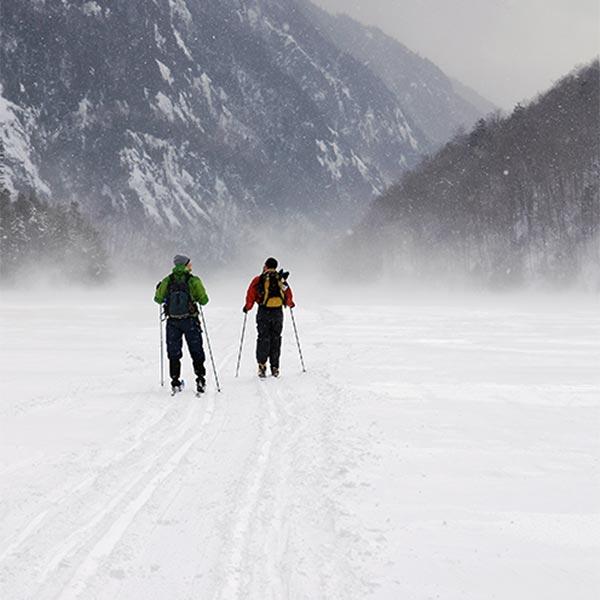 Nordic skiing on high peak trails