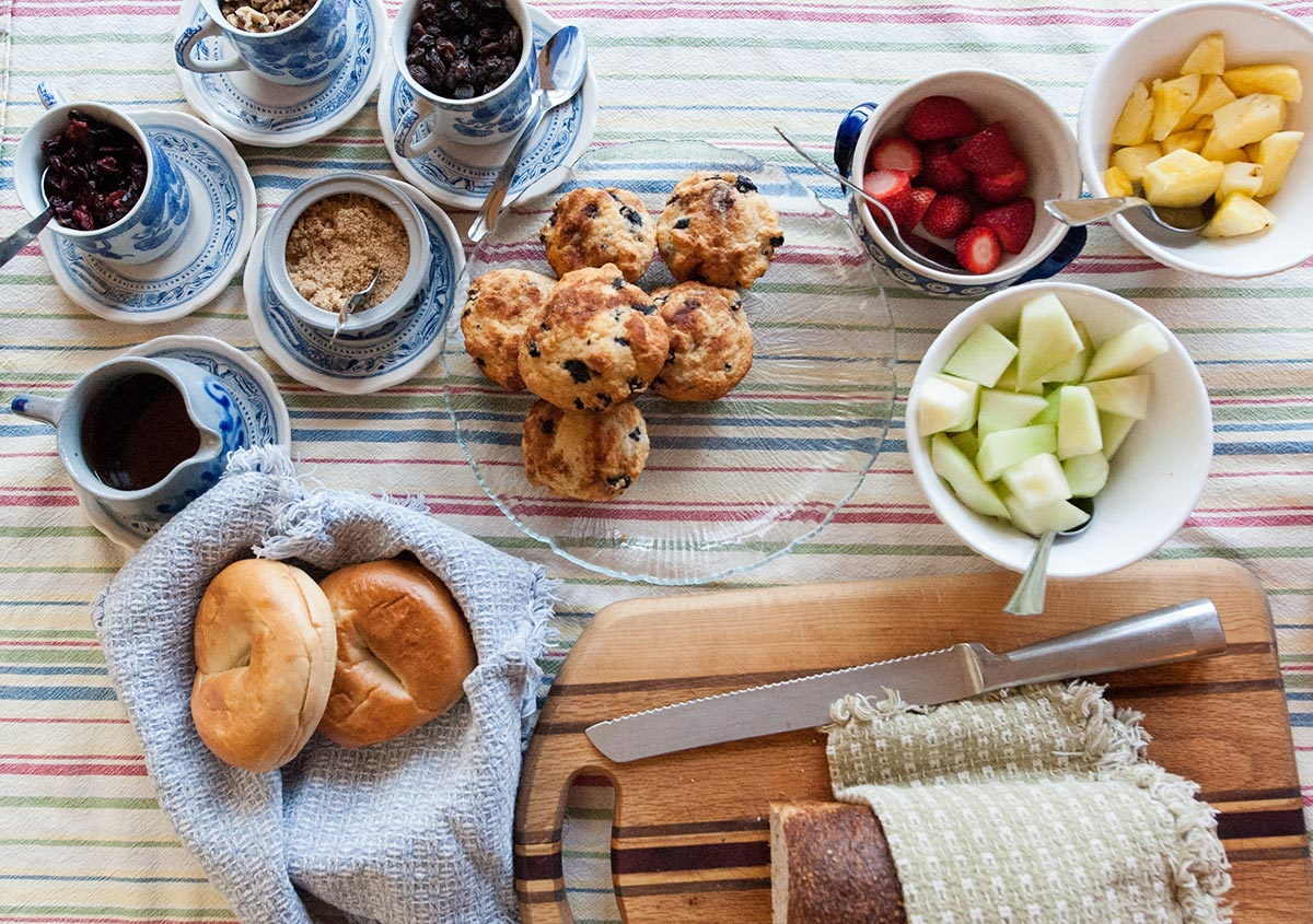 Fresh baked muffins and fruit