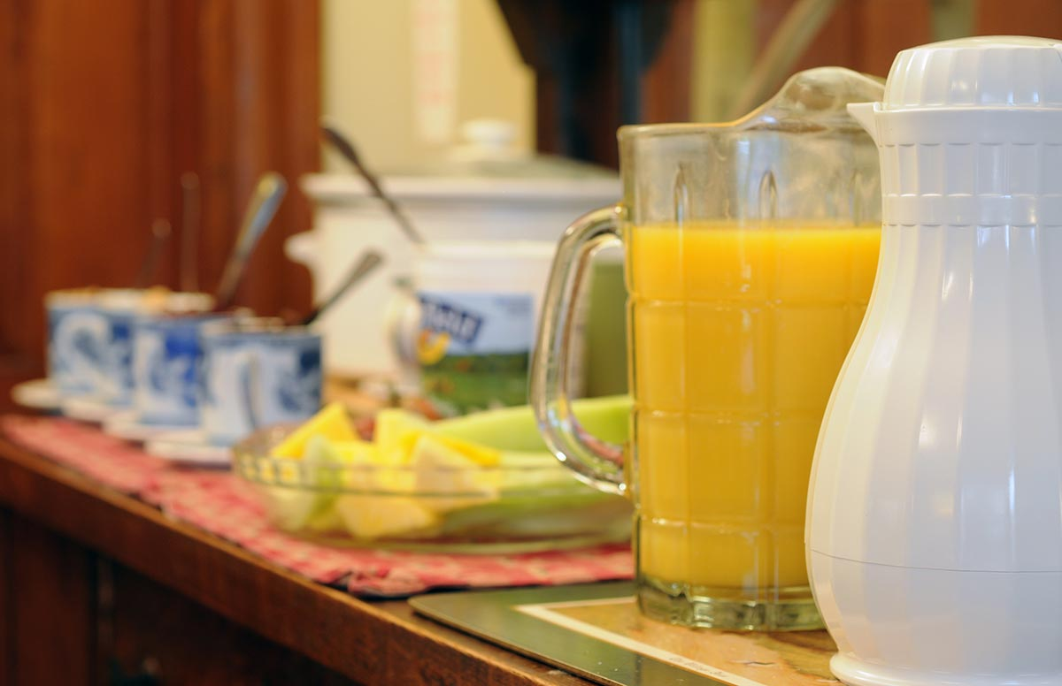 Breakfast spread with juice and fruit