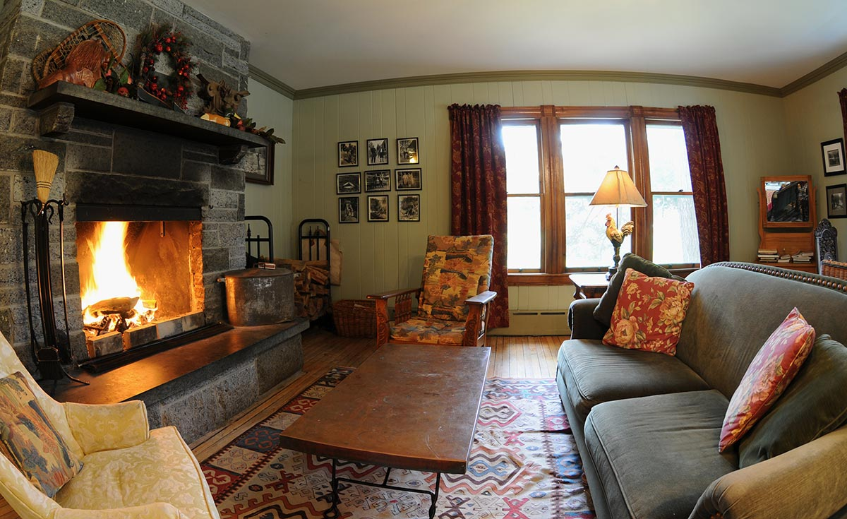Cozy seating by a roaring fireplace