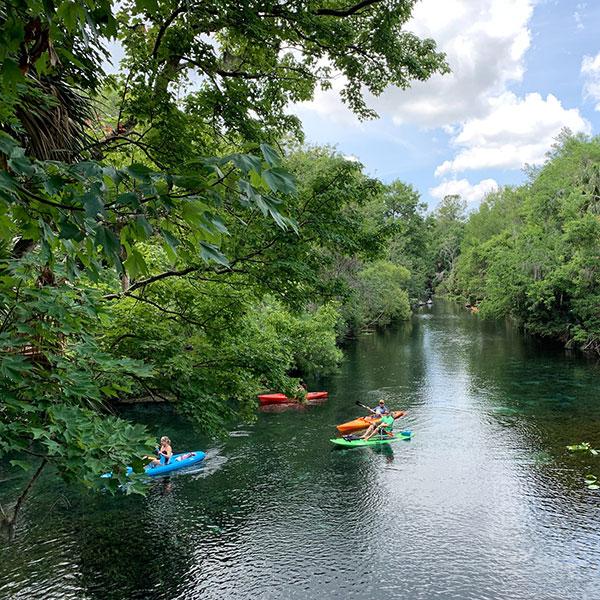 Kayaking down a river