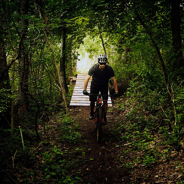 Mountain biking down a wooded trail