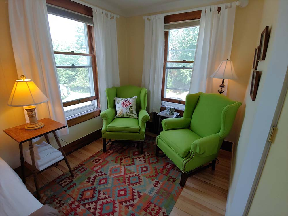 2 bright green chairs